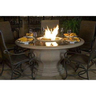 Inverted Dining Fire Pit Table with Granite Insert Top  by CGProducts