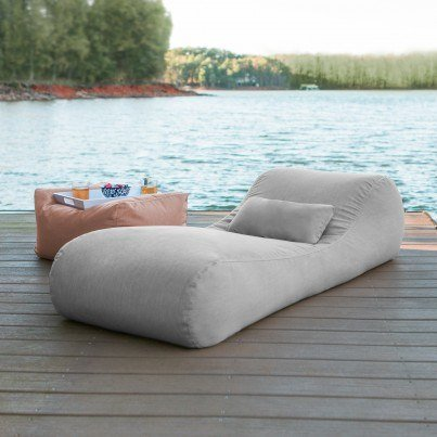 Arlo Outdoor Bean Bag Sun Lounger - Granite  by Frontera Furniture Company