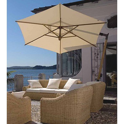 10.5' Hexagon Cantilever Umbrella with Wood Pole and Hub  by FIM Umbrellas