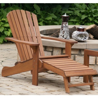 Eucalyptus Adirondack Chair w/ Built in Ottoman  by Outdoor Interiors