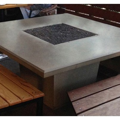 Cosmopolitan Square Dining Fire Pit Table (Textured Finish or Reclaimed Wood)  by CGProducts