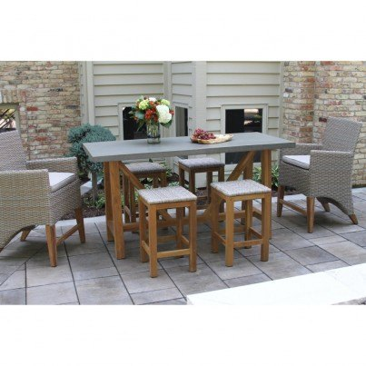 Outdoor Interiors 7 piece Teak & Wicker Counter Height Dining Set with Grey Composite Top with Bar Chairs and Saddle Stools  by Outdoor Interiors