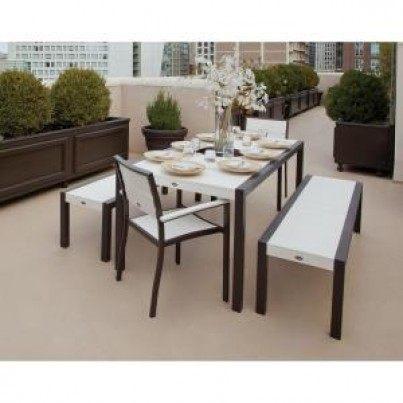 Trex® Outdoor Furniture™ Surf City 5 Piece Dining Ensemble with Benches  by Trex Outdoor Furniture
