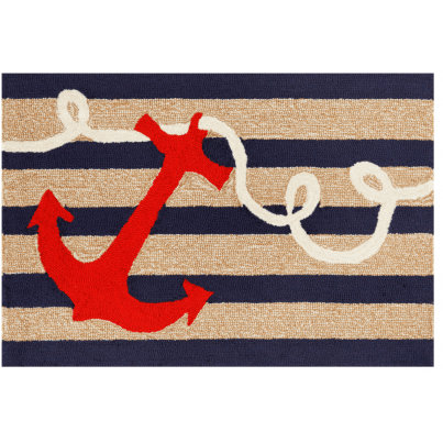 "Trans-Ocean Frontporch Anchor Navy Rug 20""x30""  by TransOcean"