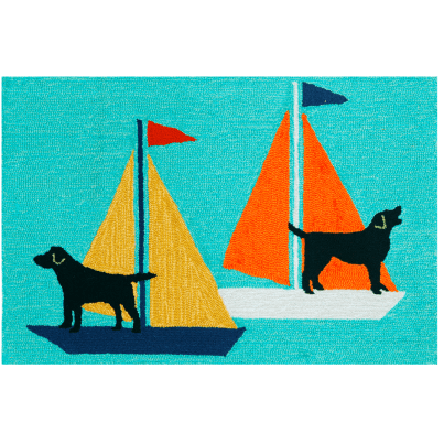 "Trans-Ocean Frontporch Sailing Dogs Blue Rug 20""x30""  by TransOcean"