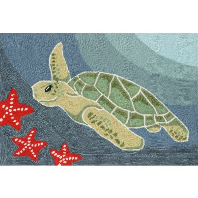 "Trans-Ocean Frontporch Sea Turtle Ocean Rug 24""X36""  by TransOcean"
