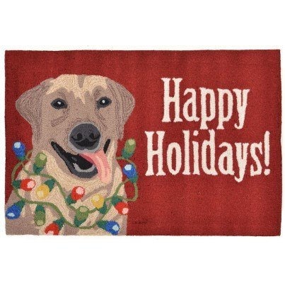 "Trans-Ocean Frontporch Happy Holidays Red Rug 30""x48""  by TransOcean"