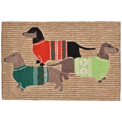 "Trans-Ocean Frontporch Holiday Hounds Neutral Rug 20""x30""  by TransOcean"
