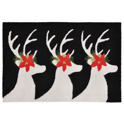 "Trans-Ocean Frontporch Reindeer Black Rug 24""x36""  by TransOcean"