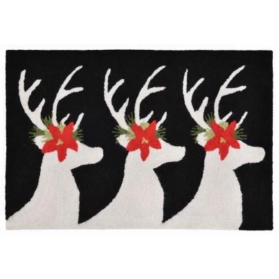 "Trans-Ocean Frontporch Reindeer Black Rug 30""x48""  by TransOcean"
