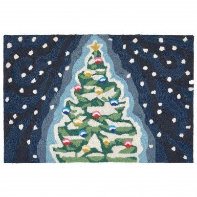 "Tran-Ocean Frontporch Xmas Tree Rug Navy 24""x36""  by TransOcean"