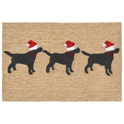 "Trans-Ocean Frontporch 3 Dogs Christmas Neutral Rug 27""x72"" Runner  by TransOcean"