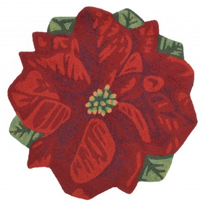 Trans-Ocean Frontporch Poinsettia Rug 3' Round  by TransOcean