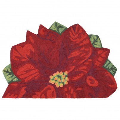 "Trans-Ocean Frontporch Poinsettia Rug 24""x36"" 1/2 Round  by TransOcean"