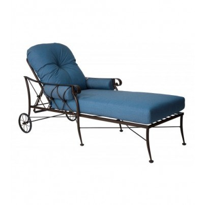 Woodard Derby Wrought Iron Adjustable Chaise Lounge  by Woodard