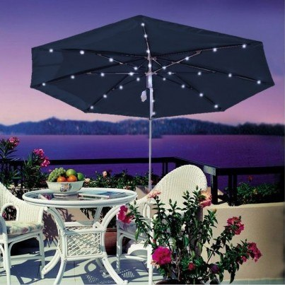 Luxe Shade™ Solar Illuminated 9' Patio Umbrella  by Luxe Shade™