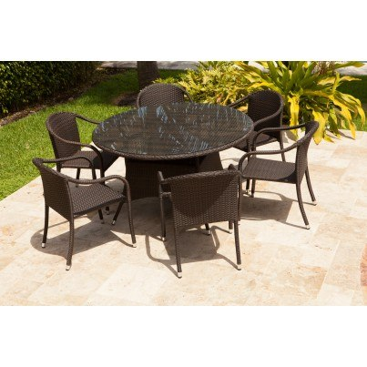 "Source Outdoor Circa Wicker 51"" Round Dining Table  by Source Outdoor"
