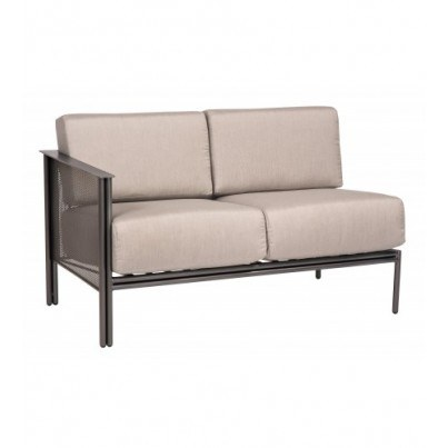 Woodard Jax Wrought Iron Left Arm Facing Sectional Loveseat  by Woodard