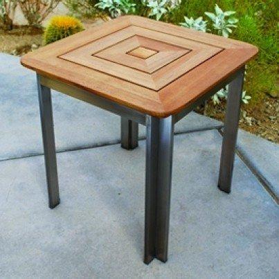 Kingsley Bate Tivoli Stainless Steel and Teak Side Table  by Kingsley Bate
