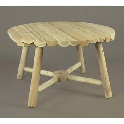 "Rustic Natural Cedar Round Umbrella Table 24"" Height Dining Table  by Rustic Natural Cedar"