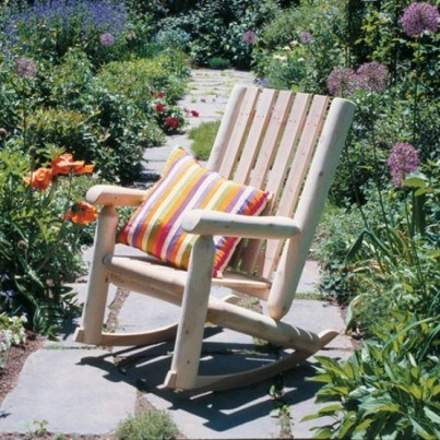 Rustic Natural Cedar High Back Rocker  by Rustic Natural Cedar