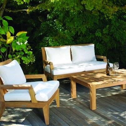 Kingsley Bate Mendocino Teak Deep Seating Settee  by Kingsley Bate
