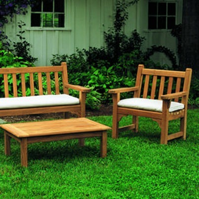 Kingsley Bate Dunbarton Teak 4 Piece Bench and Garden Chair Ensemble  by Kingsley Bate