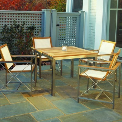 Kingsley Bate Ibiza and Tivoli 5 Piece Stainless Steel with Teak Trim Dining Ensemble  by Kingsley Bate
