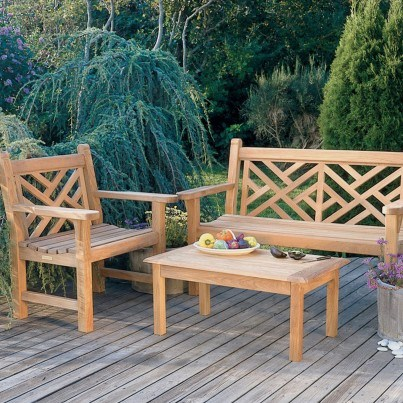 Kingsley Bate Chippendale Teak 4 Piece Bench and Garden Chair Ensemble  by Kingsley Bate