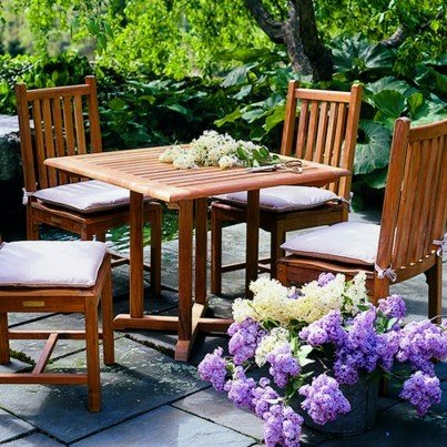 Kingsley Bate Evanston and Classic Teak 5 Piece Dining Ensemble  by Kingsley Bate
