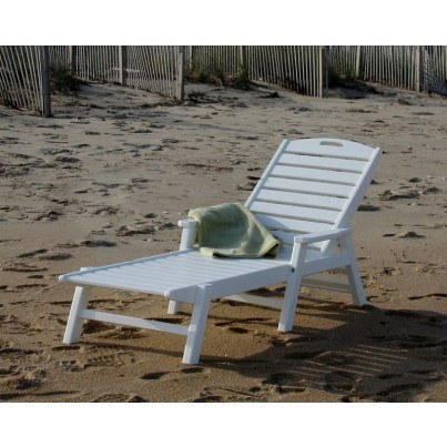 POLYWOOD® Nautical Chaise Lounge w/ Arms (No wheels)  by Polywood
