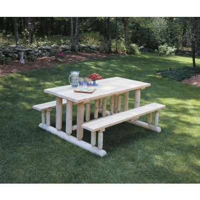 Rustic Natural Cedar Park Style  Picnic Table  by Rustic Natural Cedar
