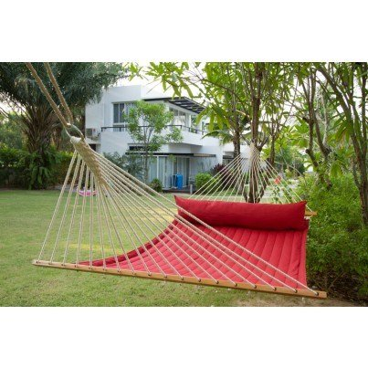 La Siesta Alabama Quilted Kingsize Spreader Bar Hammock - Red Pepper  by La Siesta