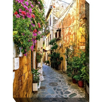 West of the Wind Outdoor Canvas Wall Art - Chania Alley  by West of the Wind