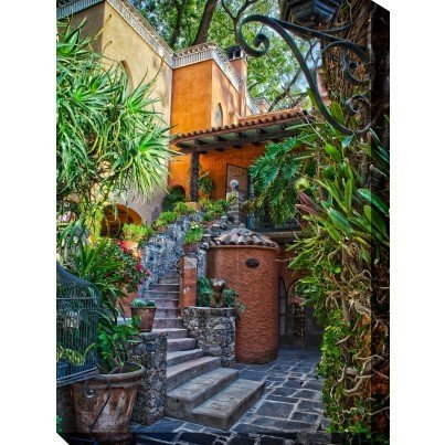 West of the Wind Outdoor Canvas Wall Art - Casa Courtyard  by West of the Wind