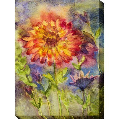 West of the Wind Outdoor Canvas Wall Art - Zinnia  by West of the Wind