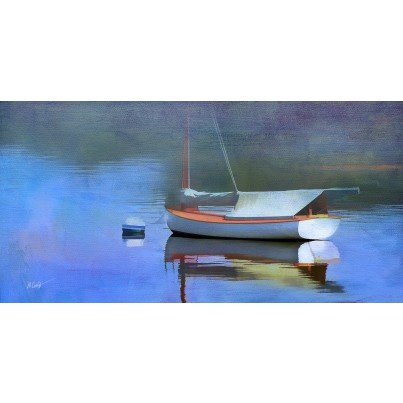 West of the Wind Outdoor Canvas Wall Art - Blue Reflection  by West of the Wind