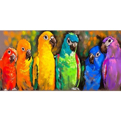 West of the Wind Outdoor Canvas Wall Art - Pretty Parrots  by West of the Wind