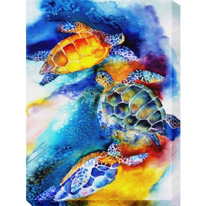 West of the Wind Outdoor Canvas Wall Art - Turtle Play  by West of the Wind