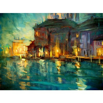 West of the Wind Outdoor Canvas Wall Art - Evening Abstract  by West of the Wind