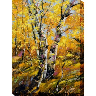 West of the Wind Outdoor Canvas Wall Art - Golden Birch  by West of the Wind