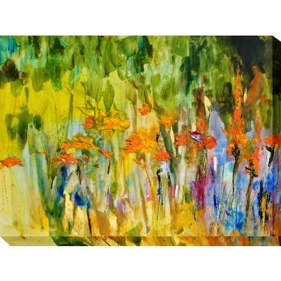 West of the Wind Outdoor Canvas Wall Art - Orange Lily Abstract  by West of the Wind