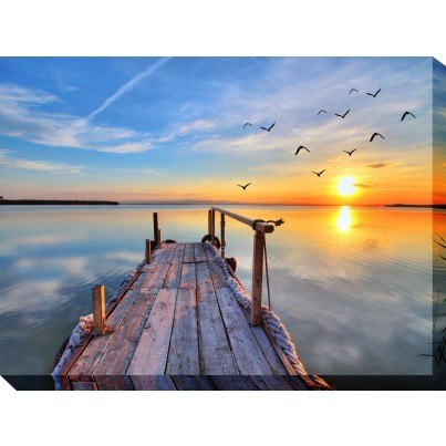 West of the Wind Outdoor Canvas Wall Art - Fishing Dock  by West of the Wind