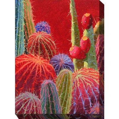 West of the Wind Outdoor Canvas Wall Art - Barrel Cactus #2  by West of the Wind