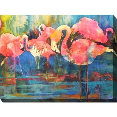 West of the Wind Outdoor Canvas Wall Art - Flirty Flamingos  by West of the Wind