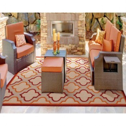 Nourison Indoor/Outdoor Aloha Rug ALH06 - Red 2x4  by Nourison