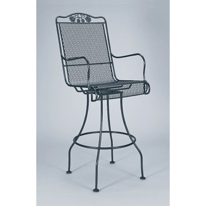 Woodard Briarwood Wrought Iron Swivel Barstool  by Woodard