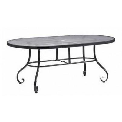 Woodard Ramsgate Aluminum 42˝ x 74˝ Oval Umbrella Table with Optional Tops  by Woodard