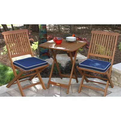 Outdoor Interiors Eucalyptus 3pc Bistro Set w/ Cushions  by Outdoor Interiors