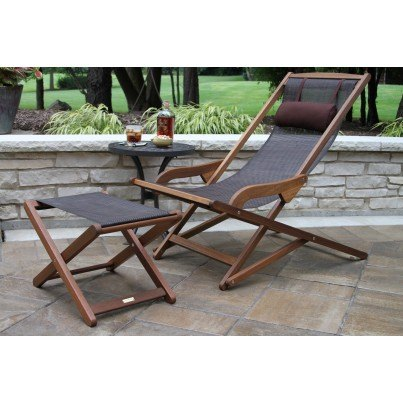 Outdoor Interiors Sling & Eucalyptus Lounger w Head Pillow  by Outdoor Interiors